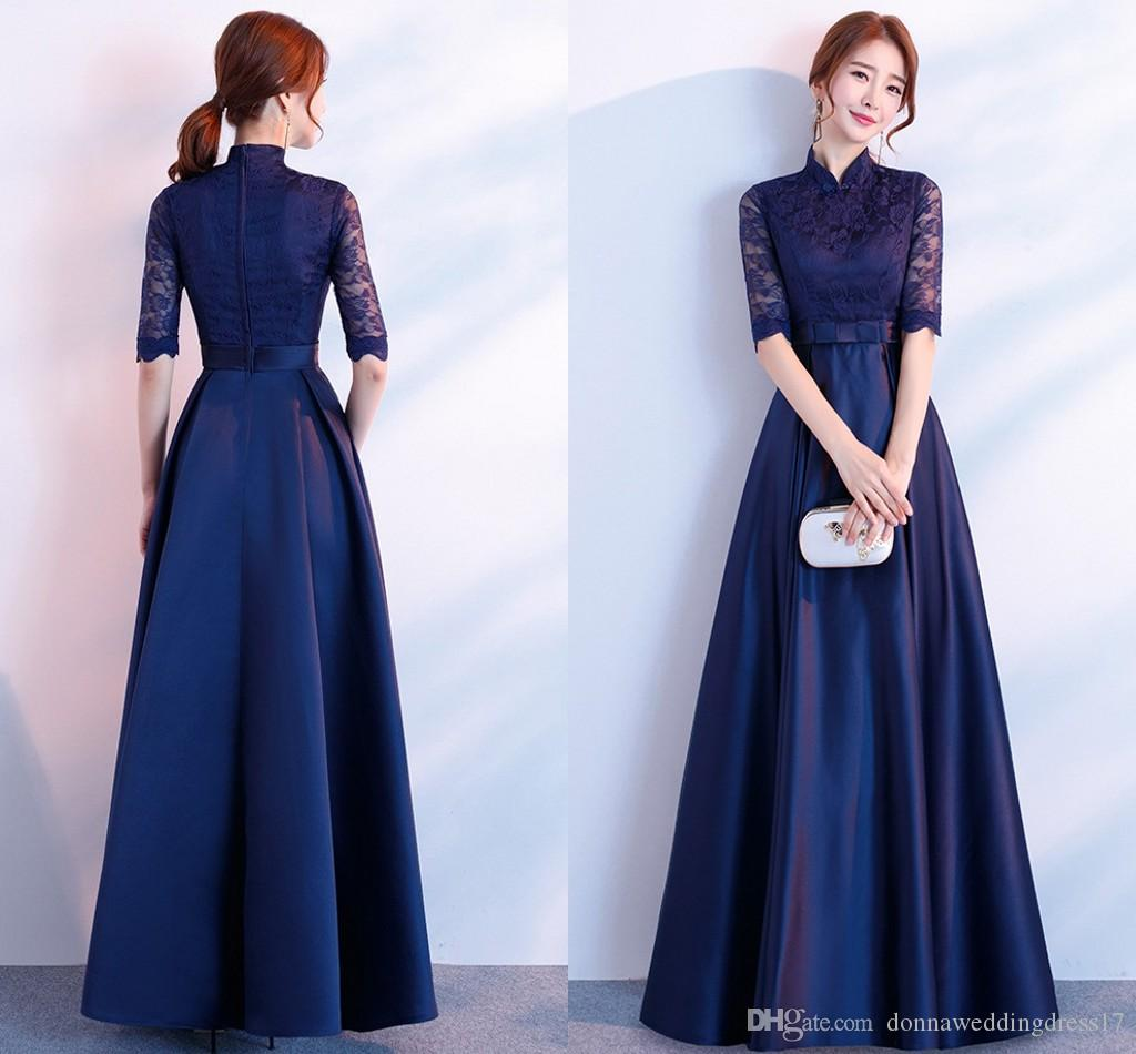 new style 2c149 c9c77 2018 Elegante abito blu navy abiti da donna abiti da donna Plus size pizzo  abiti vintage aderente da sera partito Femme Wedding Robe Maxi