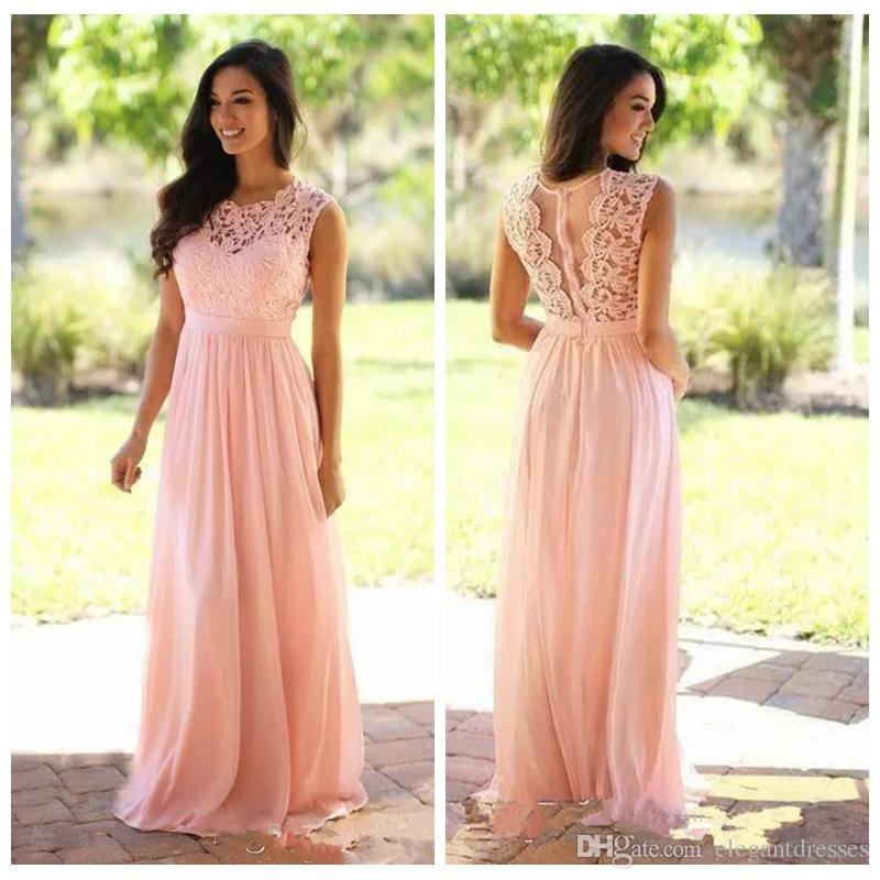 2018 O Neck Lace Top Long Bridesmaid Dresses Custom Online Wedding