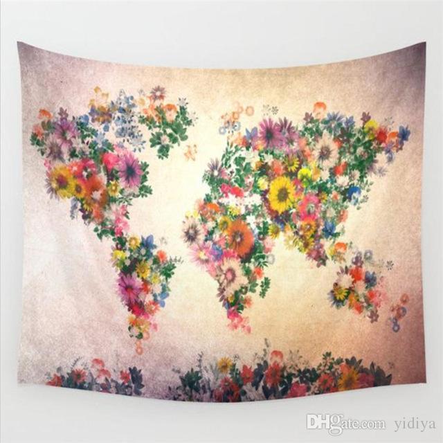 새로운 큰 세계지도 인쇄 된 만다라 태피스트리 벽 교수형 히피 태피스트리 코튼과 폴리 에스터 베갯잇 Boho 벽 홈 장식 태피스 트리
