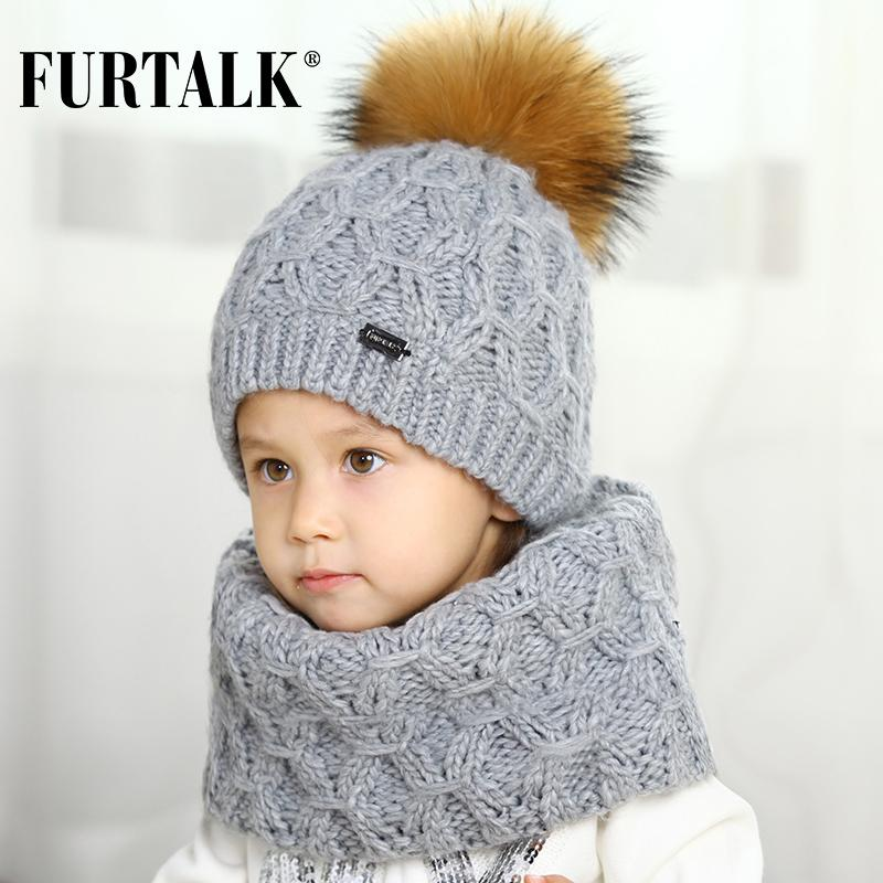 FURTALK 5 10 Years Wool Child Winter Hat Scarf Set For Girls And Boys Real  Fur Pom Pom Hats And Infinity Scarves SFFW032 Funny Hats Baseball Hat From  ... 9e6ab9b7746