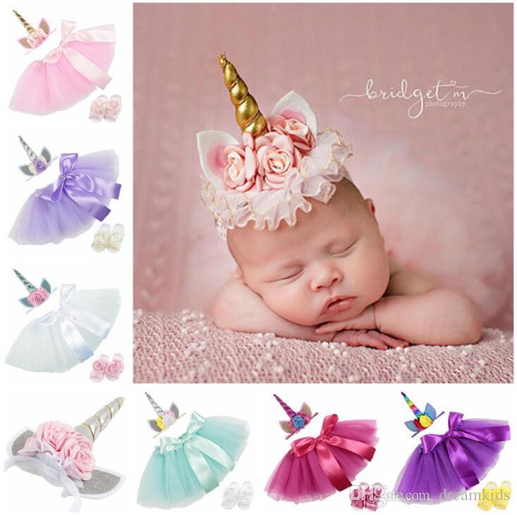 2019 Set Newborn Baby Girls Unicorn Romper Jumpsuit Ruffle Tutu Dress Headband Shoes Infant 1st Birthday Clothing Outfit From Dreamkids