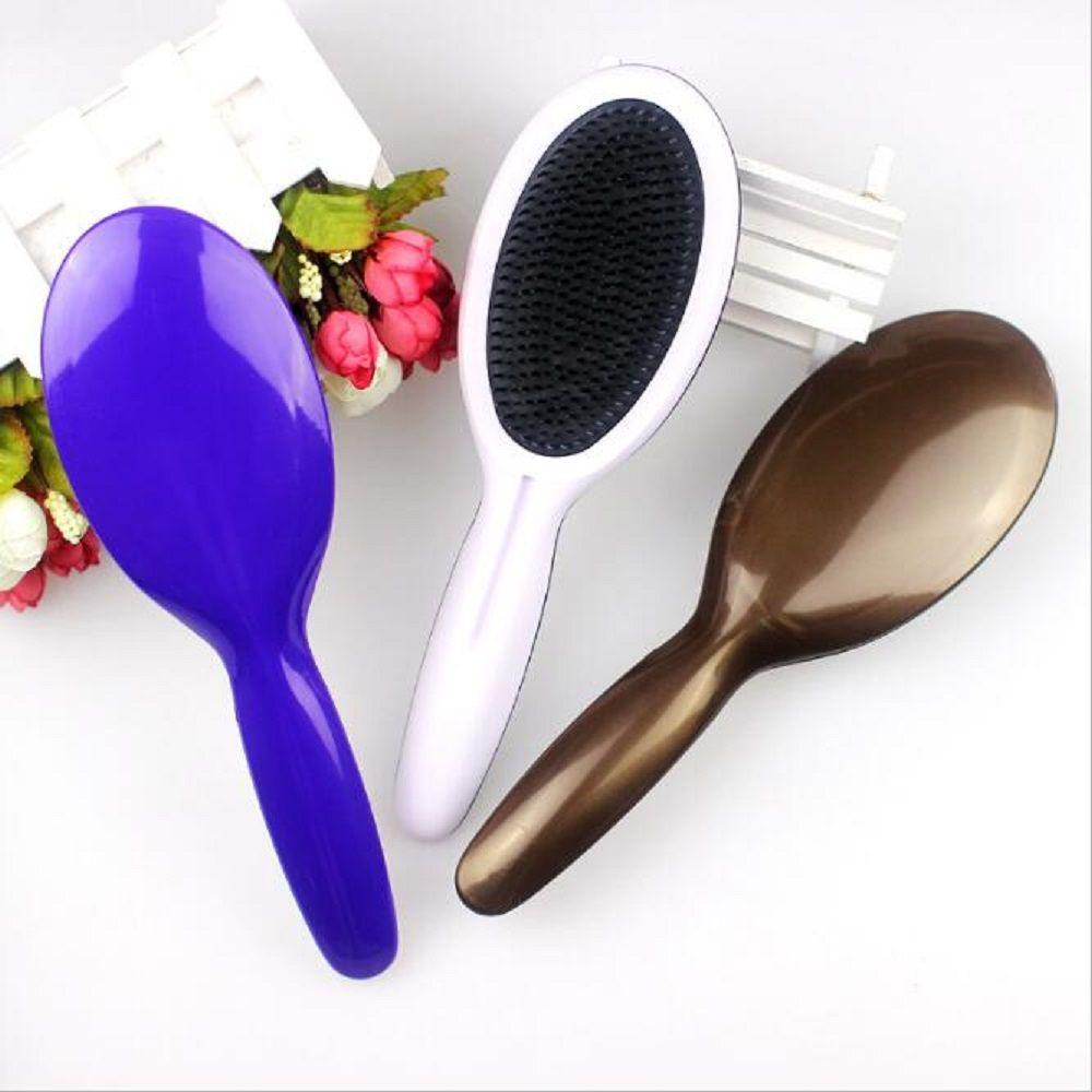 Neue Design Oval Haar Detangle Pinsel Mit Weichen Zähnen ABS Tangle Haarbürste 3 Farbe Perücke Pinsel Styling Werkzeuge