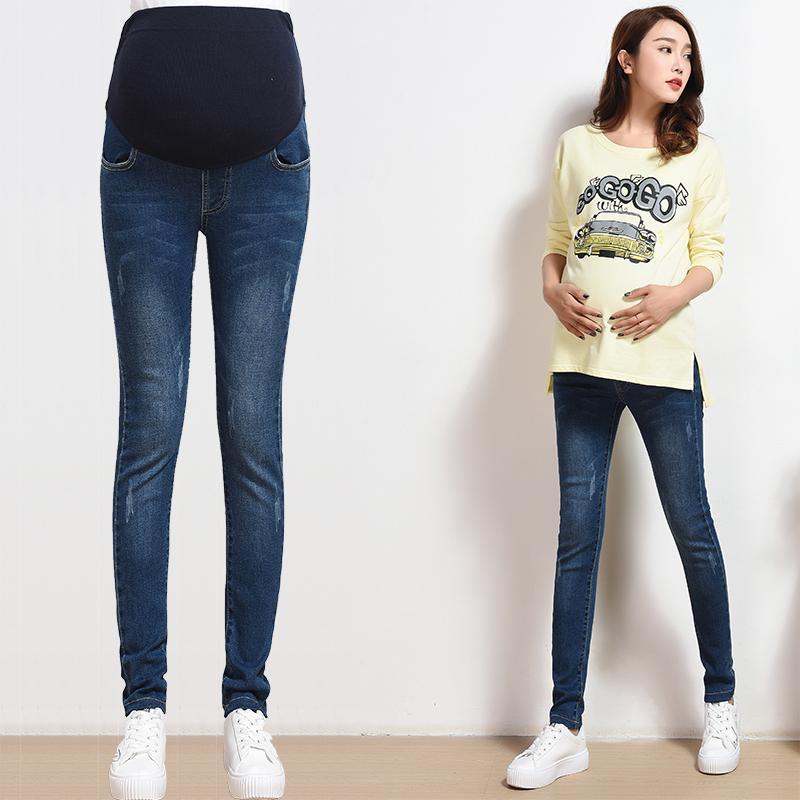 7bf55da77 Compre Yuanjiaxin 100% Algodón Maternidad Jeans Primavera Otoño Embarazo  Vientre Elástico Pantalones Delgados Pantalones De Mezclilla Para Mujeres  ...