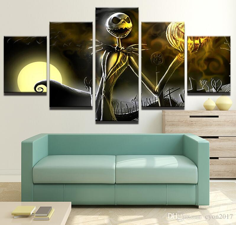 Canvas Wall Art Pictures Frame Home Decor Living Room Halloween Poster HD Printed Nightmare Before Christmas Painting