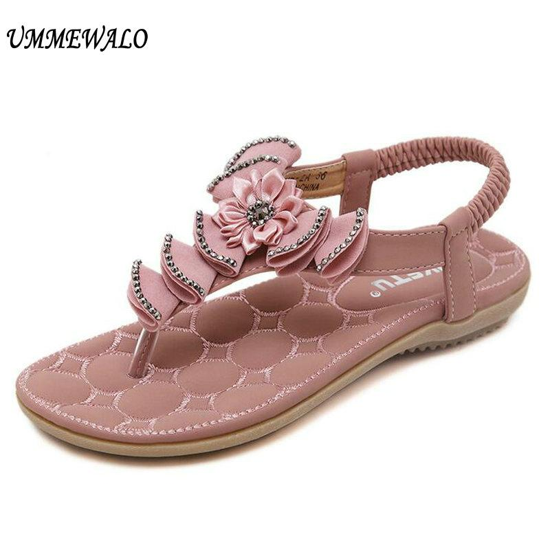 ebdf215e077 UMMEWALO Summer Sandals Women T Strap Flip Flops Thong Sandals Floral  Designer Elastic Band Ladies Gladiator Shoes Zapatos Mujer Buy Shoes Online  Wedge ...