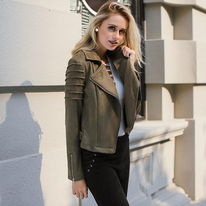 Lily Rosie Girl Casual Suede Leather Women Jacket Ruffle Long Sleeve Short  Coats 2018 Spring Female Fuax Coat Outerwear Crop Top 2019 Motorcycle  Leather ... 95e2301f67bd