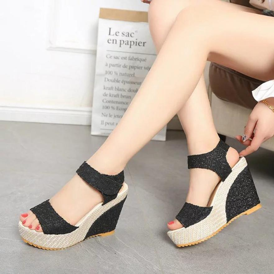 095c19dadcb Women Hollow Out Wedges Ladies Shoes Thick Boom Flatform Shoes High Heeled  Sandals Open Toes Women Sandals Sandalia Feminina