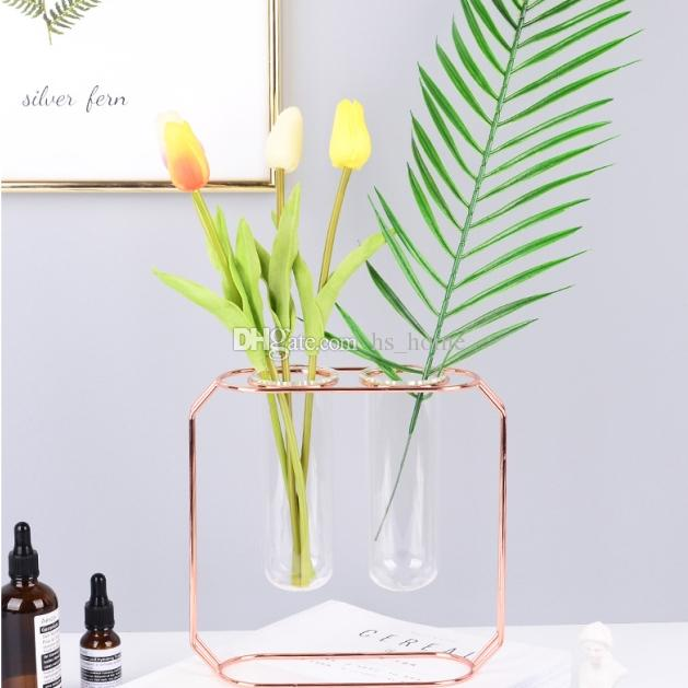 2018 New Rose Gold Wrought Iron Vase Glass Test Tube Flower Inserter