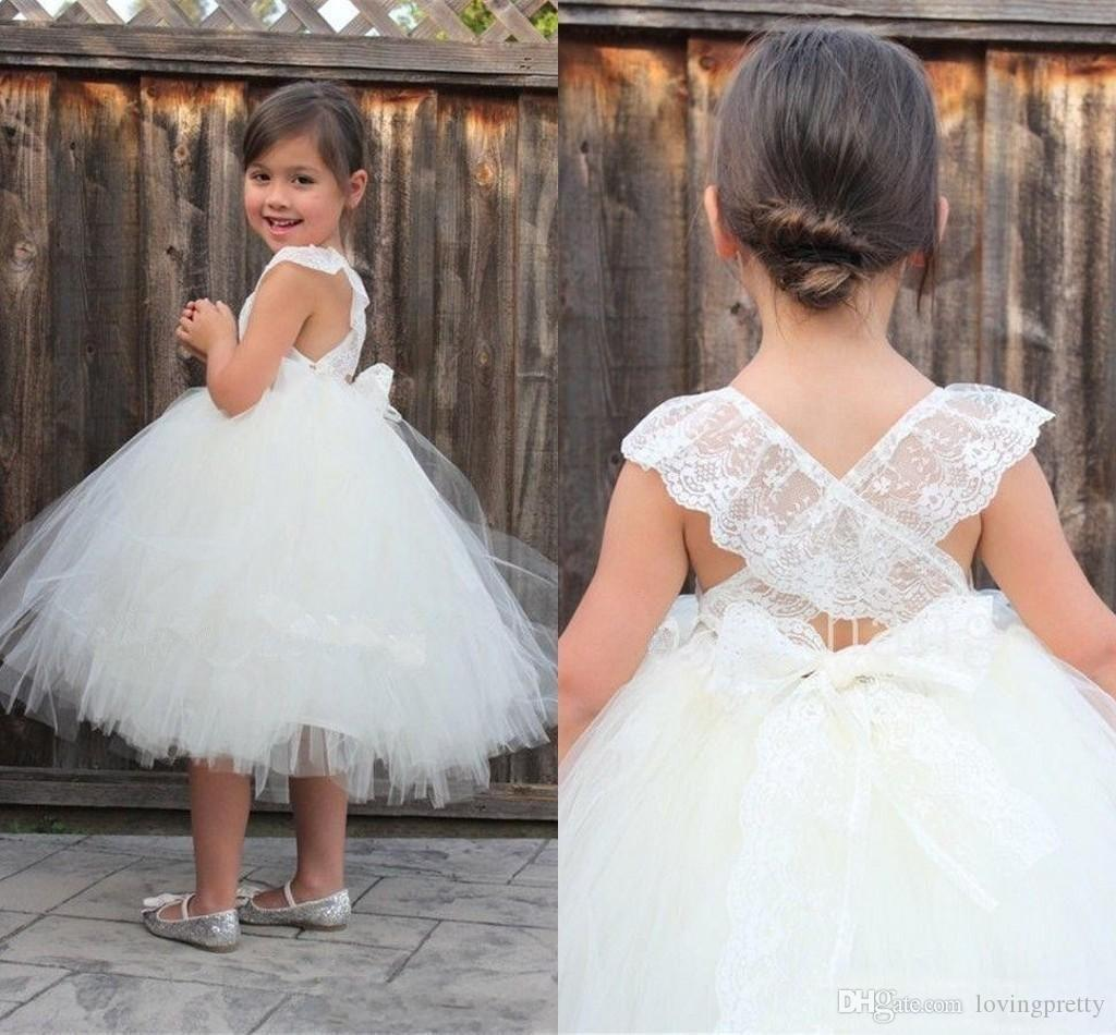 Janevini 2018 Simple Princess White Tulle Flower Girl Dresses For