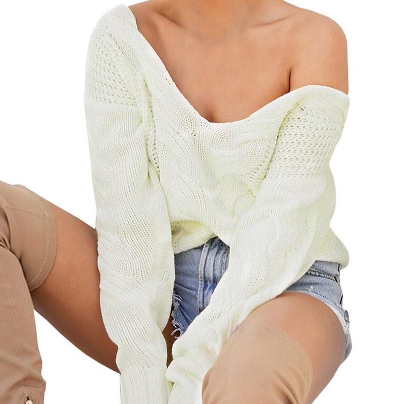 83ef817c6a3ed4 2019 Winter Knitted Sweater Women 2018 Autumn White Pullover Sweater Sexy  Deep V Neck Long Sleeve Jumpers Pull Femme Sweter Mujer From Glorying