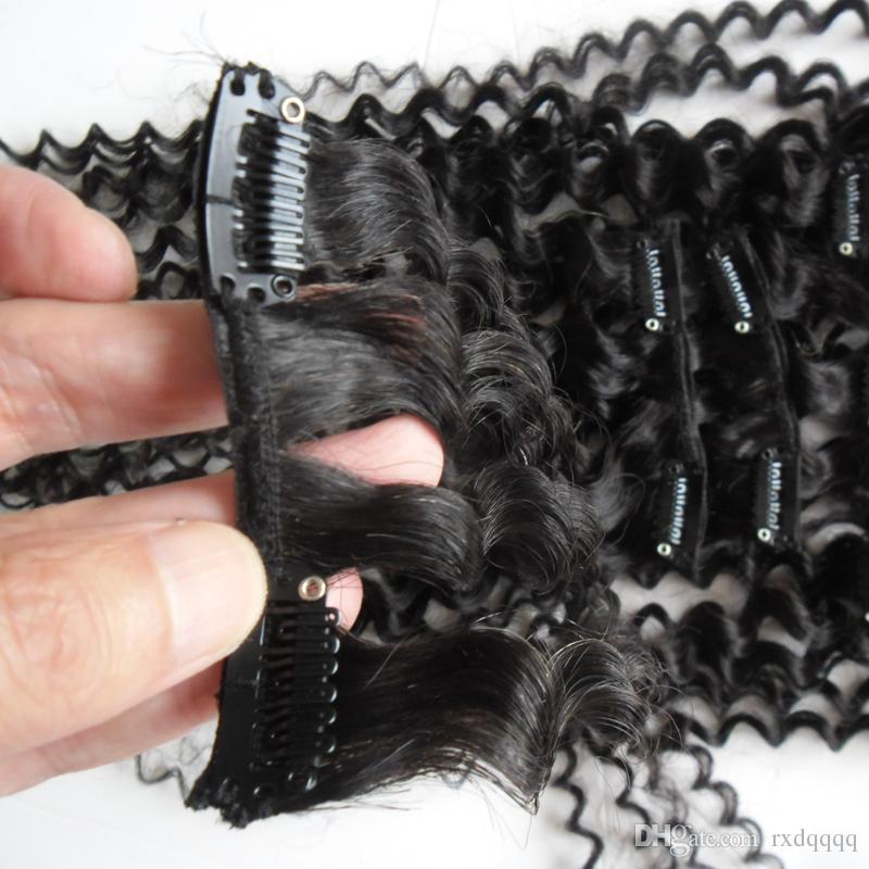 İnsan Saç Uzantıları Klip 100g 7 adet Moğol İnsan Saç 4a / 4b / 4c Afro Kinky Kıvırcık Saç Klip
