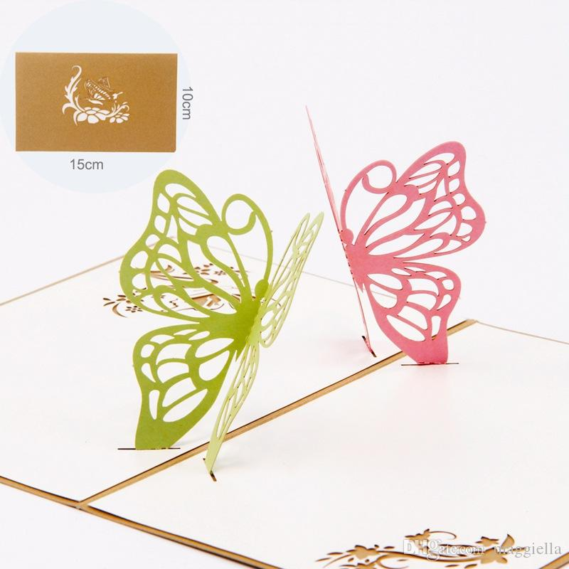 Laser Cut Invitations 3d Cubic Butterflies Birthday Greeting Cards