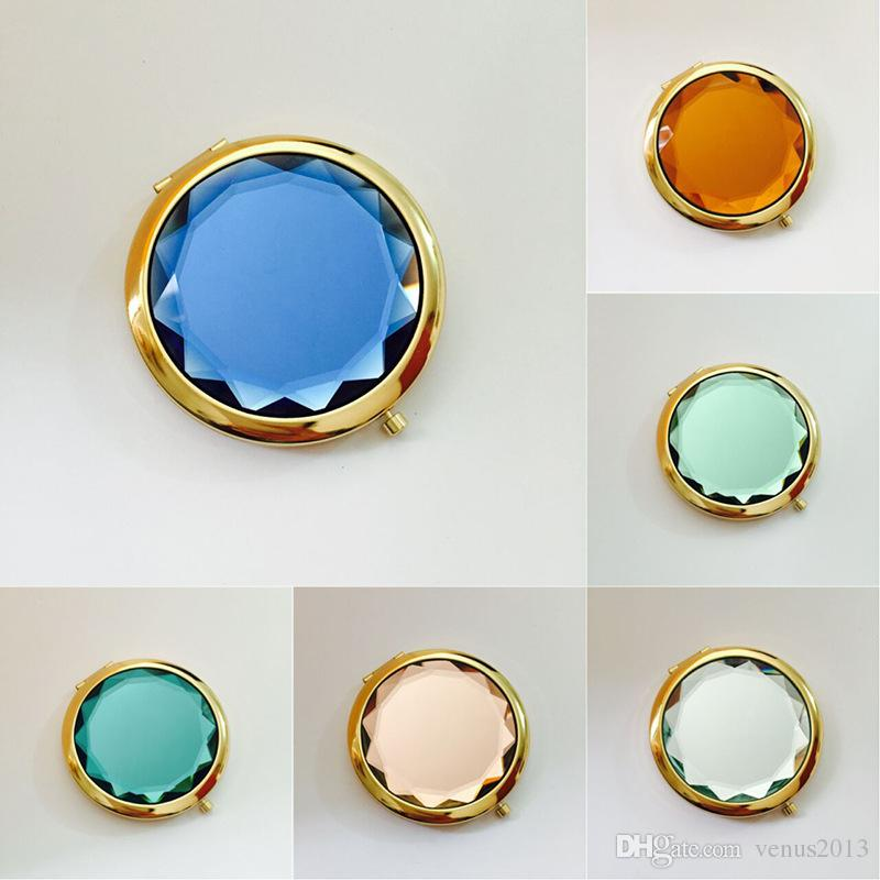 Рекламные подарки золотой кристалл красоты макияж складные зеркала двойной стороне золотой карман кошелек сумка путешествия компактный зеркало 200 шт.
