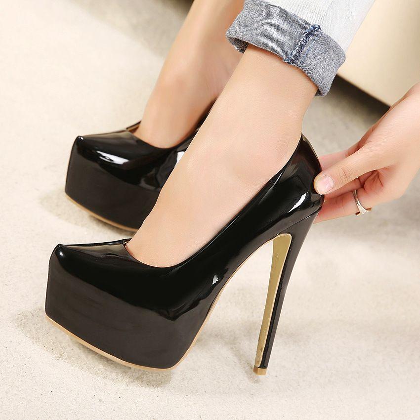 dbf4e3f5b3e6f Compre Plataforma De Cuero Elegante Tacones Altos Zapatos De Vestir  Diseñador De La Marca Negro 15 Cm Tacón De Aguja Zapatos De Boda Dama  Bombas Para La ...