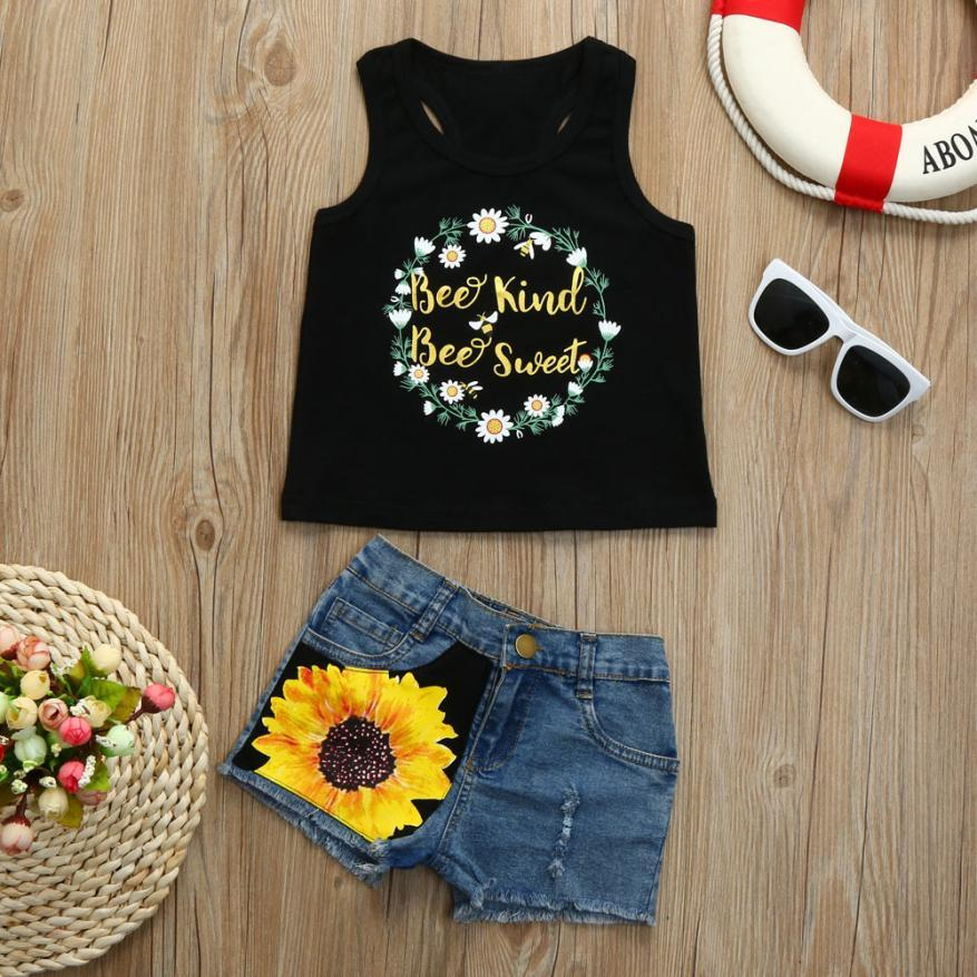90e8db1cb 2019 Toddler Baby Girls Summer Clothing Sets Leer Print Vest Tops T Shirt  Floral Denim Shorts Outfit Set European Style 2018 From Friendhi, $32.57 |  DHgate.