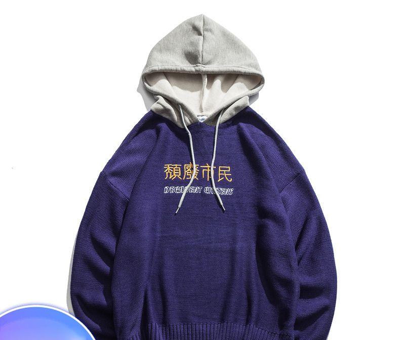 new product 34d52 1ce81 Brief Stickerei Pullover Herren Pullover mit Kapuze 2018 Winter Oversize  Pullover für Männer Streetwear Bekleidung