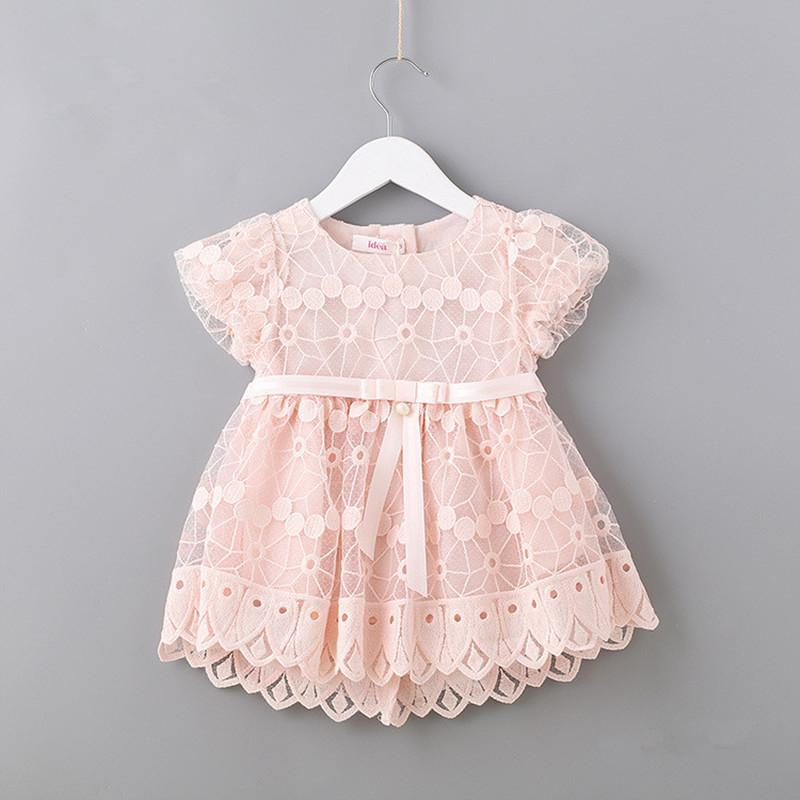 7117b8548 2019 Newborn Flowers Embroidery Puff Sleeve Girls Dress Christening  Birthday Party Baby Clothing Toddler Girl Clothes Pink White 0 2T Y18102007  From Gou07, ...