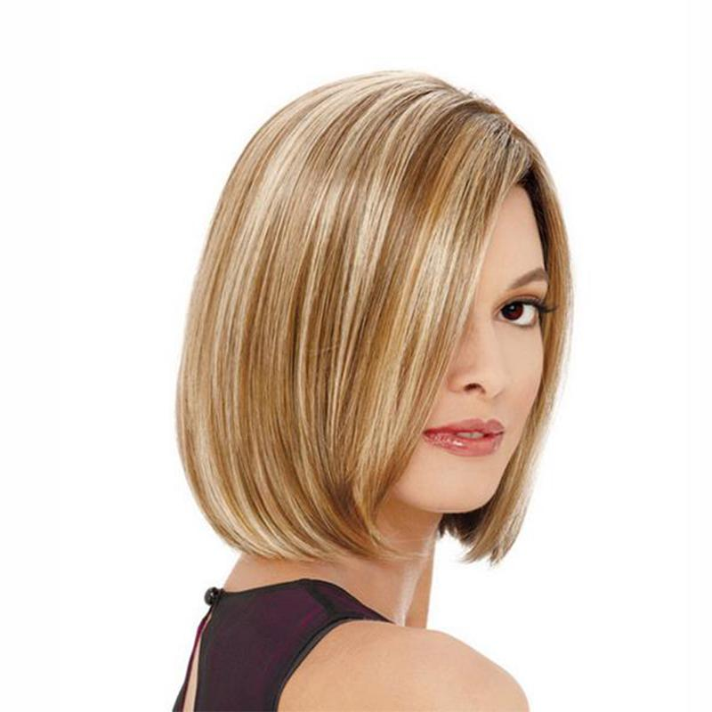 f3fdc2993a4 8 Inches Women S Wig Hot Sale Beautiful Boy Cut Short Wigs For Women  Straight Style Synthetic Ombre Blonde Hair Short Straight Bob Wig UK 2019  From ...