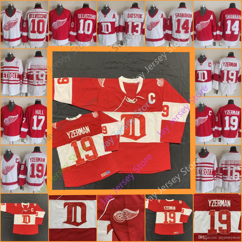 lowest price a0e89 0330f Steve Yzerman Detroit Red Wings Jersey CCM Ice Hockey Alex Delvecchio Pavel  Datsyuk Brendan Shanahan Vladimir Konstantinov Brett Hull