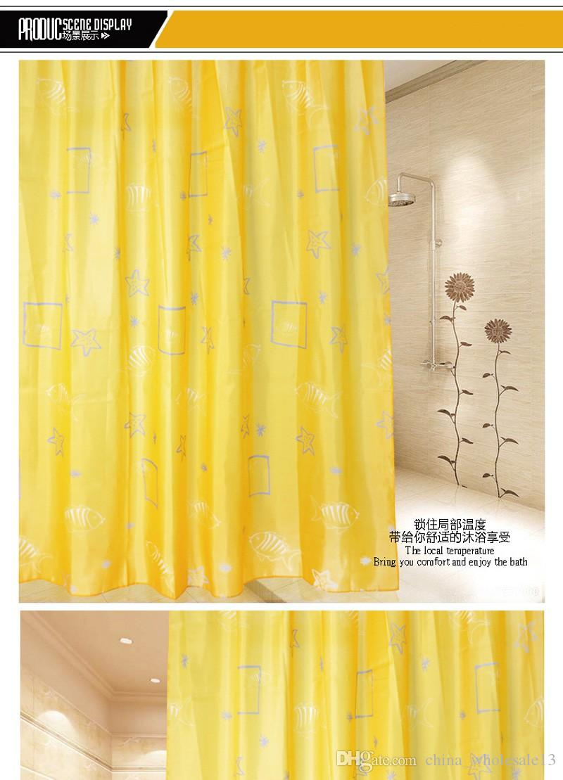 High Quality Polyester Yellow Shell Pattern Bathroom Waterproof Shower Curtain AEI 115 Curtains