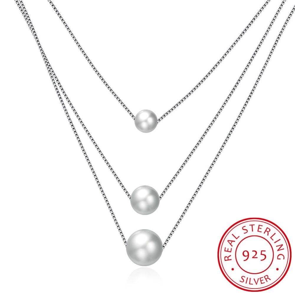 Elegant 925 sterling silver necklace 3 pearl necklace Fashion Natural Freshwater Pearl Jewelry For Women White Delicate
