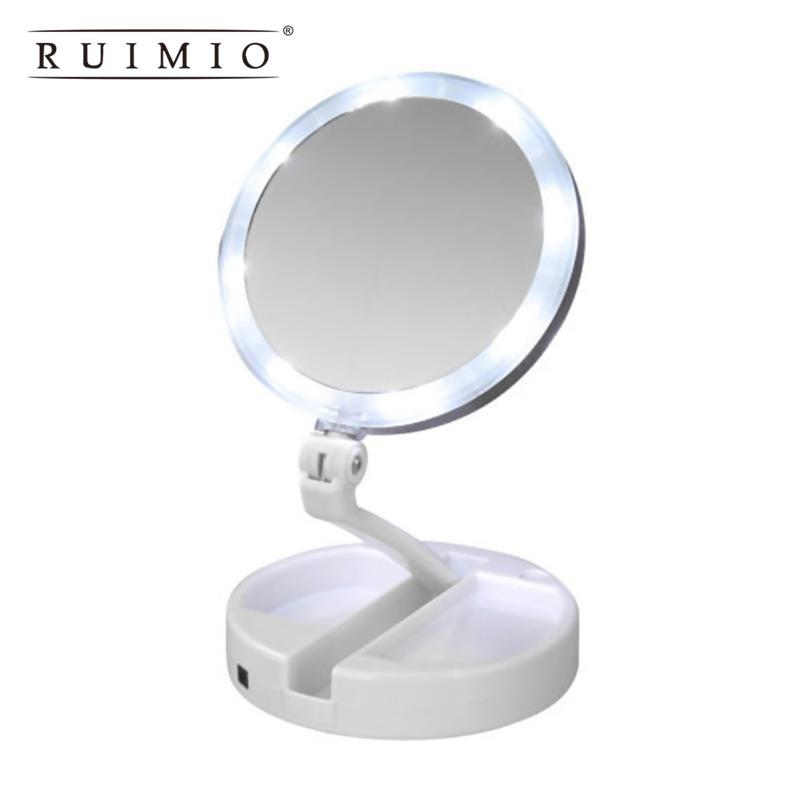 Lighted Makeup Mirror Double Sided Table Top Mirror With Led Lights