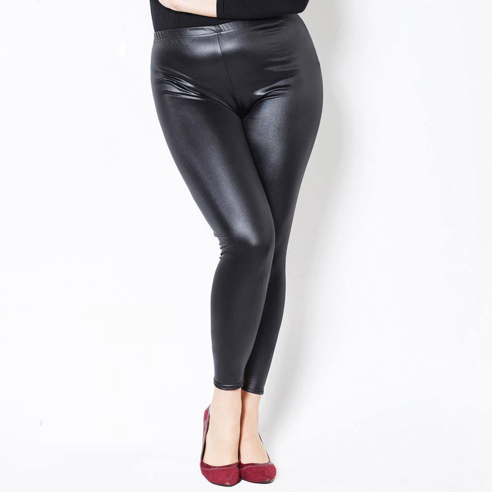2019 Fake Leather Wet Look Gothic Shiny Wet Look Plus Size PU Leggings  Women Large Size XXXXXL Summer Black Pants Shiny Leggings From Cover3127 ce7b534245de