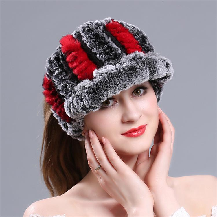 a3c258aba2d New Pattern Weave Rex Rabbit S Hair Leather And Fur Hats Ma Am Autumn And  Winter Thickening Keep Warm Air Top Hat Wool Hat Baseball Caps For Men Mesh  Hats ...