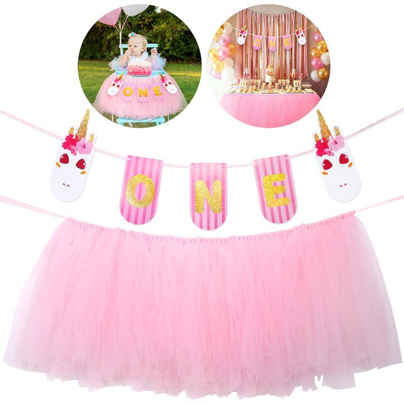2019 Baby 1st Birthday Pink Tutu Skirt For High Chair Decoration Party Supplies From Igarden001 2399