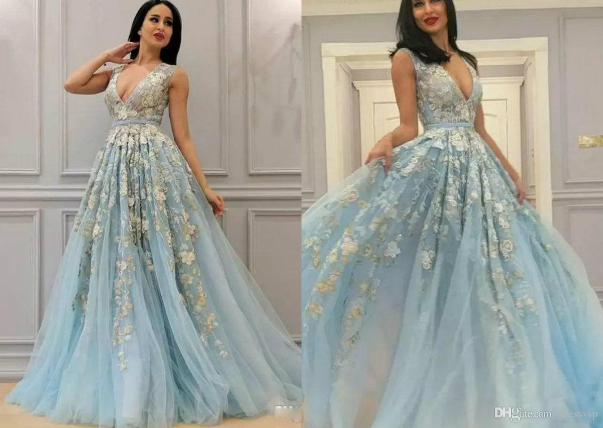 Sexy prom dresses with deep v neck lace appliques sash formal