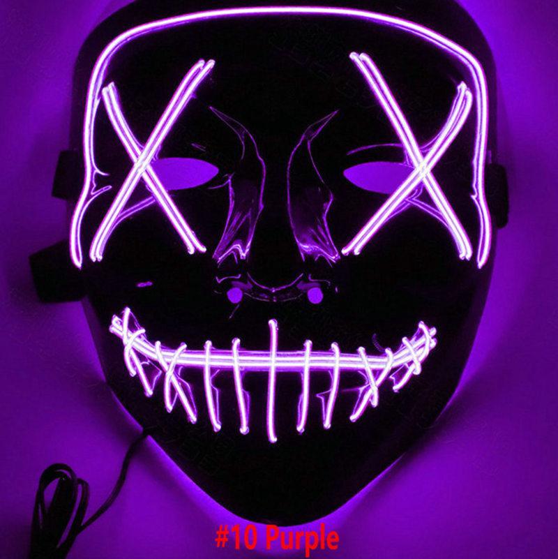 7c5f5bd44b9b LED Face Mask EL Wire Halloween Xmas Mask Light Up Ghost Slit DJ ...