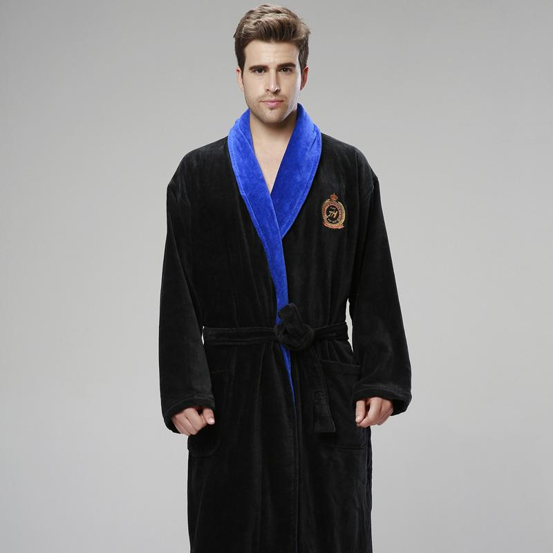 2e22d197f6 2019 XMS Winter Thickening Men Bathrobe Plus Size Pajamas Pyjamas Towel Fleece  Robe Warm Lengthen Male Dressing Gown Mens Night Robes From Odeletta