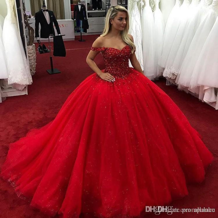 e0f5c83f04 Bright Red 2019 Ball Gown Quinceanera Dresses Off Shoulder Beads Crystals Lace  Up Sweet 16 Dresses Prom Dresses Vestidos De Quinceanera Dresses For 2015  ...