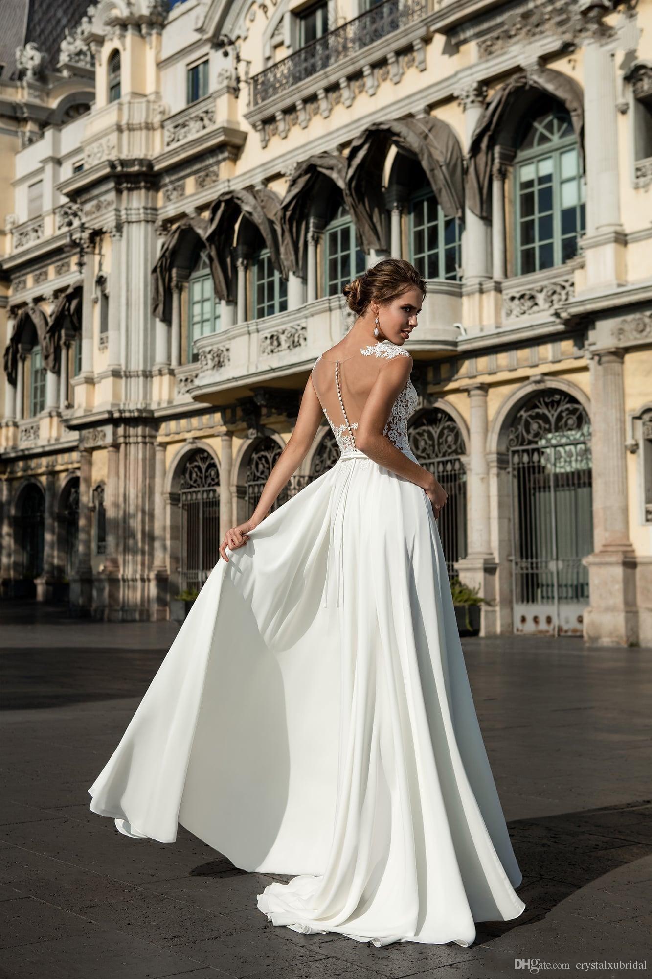 limor-rosen 2018 A Line Wedding Dresses Jewel Neck Illsuion Lace Applique Side Split Sheer Back Floor Length Chiffon Beach Bohe Bridal Gowns