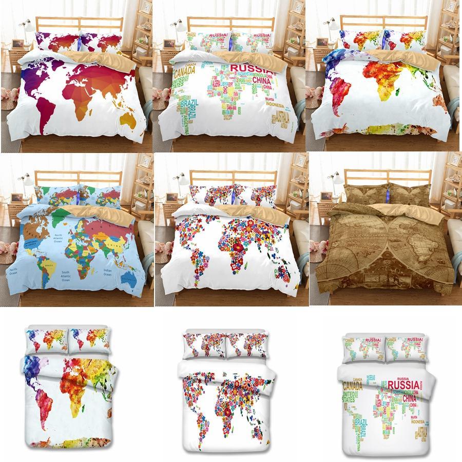 US AU Size Luxury Bedding Set Duvet World Map Printed Bed Cover Set ...