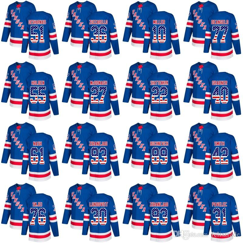 huge discount cd478 e413e New York Rangers Jersey With American Flag Number 36 Zuccarello 93  Zibanejad 10 Miller 27 McDonagh 22 Shattenkirk 76 Skjei Hockey Jersey