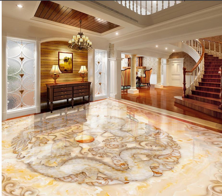 Großhandel 3d Wallpaper Boden Für Wohnzimmer Marmor Pvc Wasserdicht