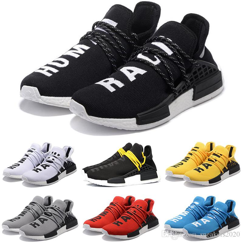 best service ab392 bcd10 Cheap Human Race Running Shoes Men Women Pharrell Williams HU Runner Yellow  Black White Red Green Grey Blue Casual Sports Sneakers Size 5-12