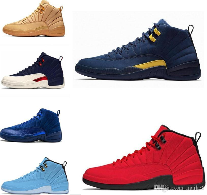 wholesale dealer 2ccdd d88d1 New 12 PE Michigan Psny Navy Blue Suede 12S Mens Basketball Shoes Sneakers  Women GS Hyper Lemonade Designer Jumpman Trainers zapatos