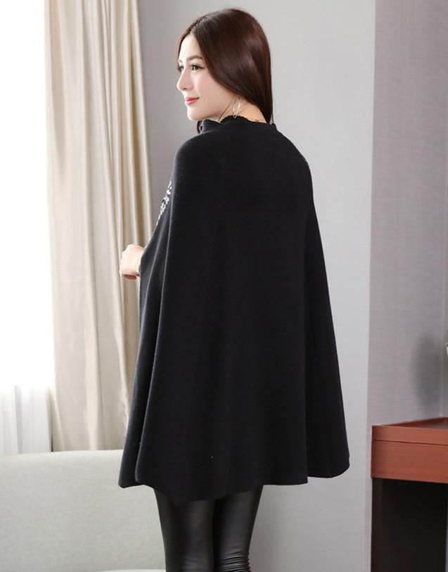 Fashion Eagle Pattern Sequiens Embroidery Knitting Cloak Coat Women Winter Batwing Sleeve Jacket Zipper Black Wool Cape Outwear
