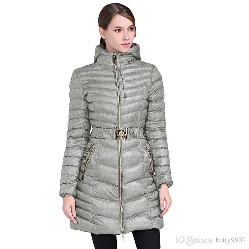18674196b704d Women Designer Winter Coats Warm Outwear New Parka Gray Hooded ...