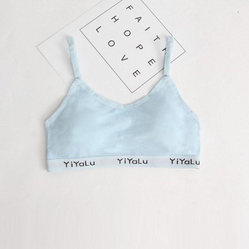 Teenage Girl Underwear Solid Color Cotton Bras Wireless Breathable Training Bra for Girls Child Bra Padded Brassiere