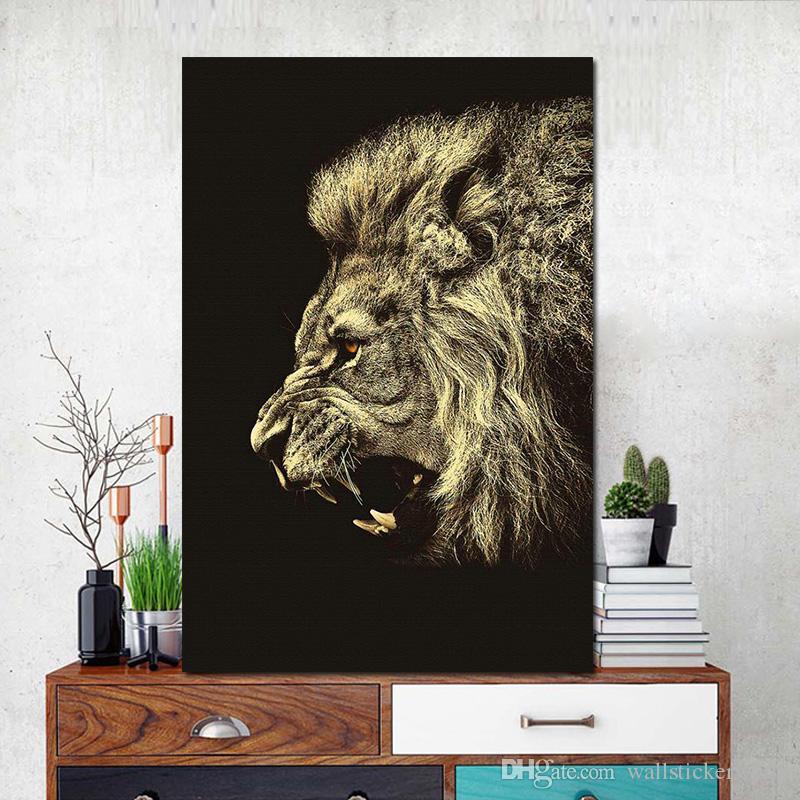 Satın Al 1 Parça Hayvan Aslan Yüz Wall Art Tuval Baskı Ve Poster