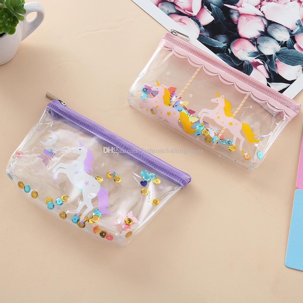 New unicorn PVC cartoon coin purses kids children small wallet lady cute transparent storage Cosmetic bag