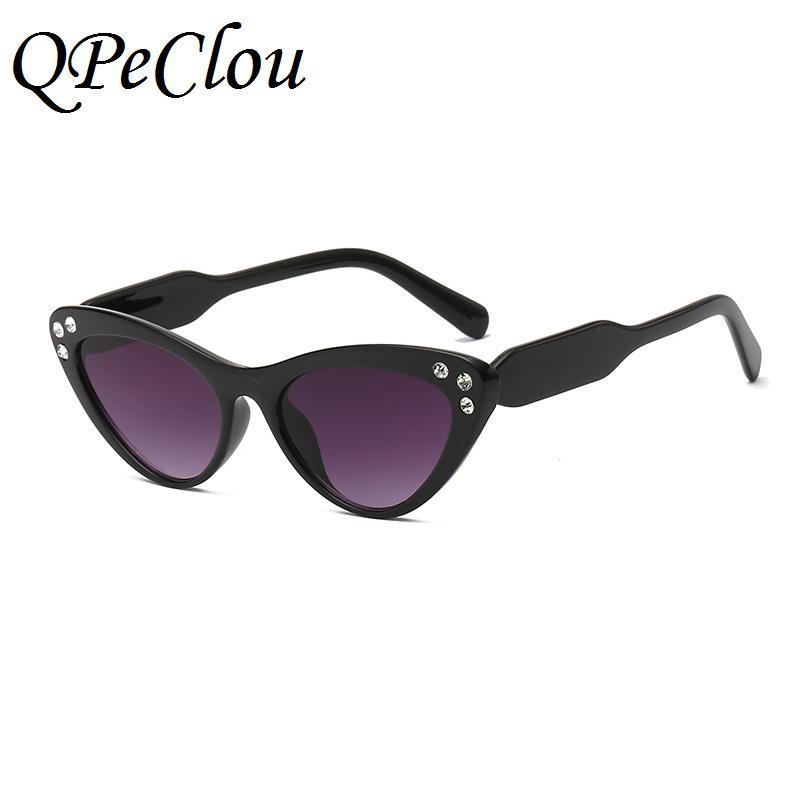 818e3bb93770a QPeClou Women Cat Eye Sunglasses Female Brand Diamond Mirror Glasses 2018  New Small Cateye Sun Glasses Shades UV400 Eyewear Foster Grant Sunglasses  Spitfire ...