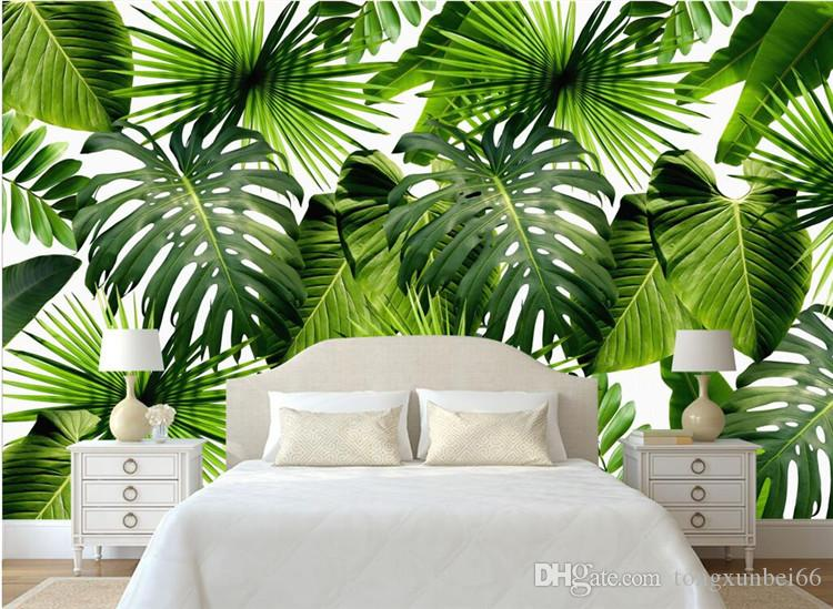Custom 3D Mural Wallpaper Southeast Asia Tropical Rainforest Banana Leaf Photo Background Wall Murals Non-woven Wallpaper Modern
