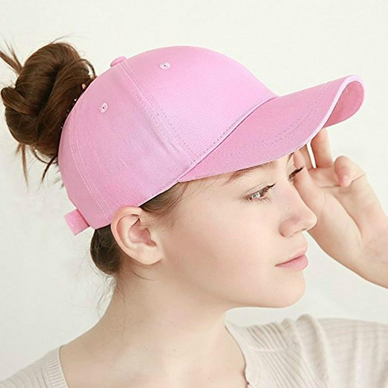 3c310180d34 Ladies Solid Color Ponytail Baseball Cap Summer Caps Opening Fashion Hat  For Women Sports Golf Black Pink White Brixton Hats Trucker Cap From  Donglingshi