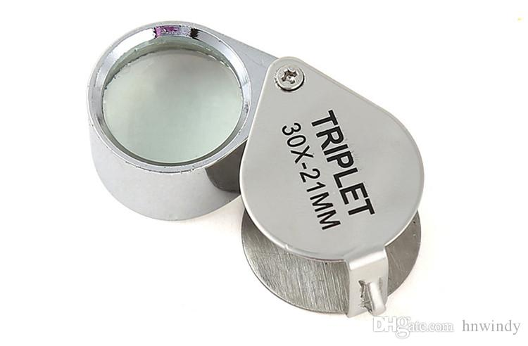 Mini 30x21mm Jewelers Eye Loupes Jewelry Diamond Magnifiers Magnifying Glass Ingenious portable Loupe Magnifier Silver color DHLfreeshipping