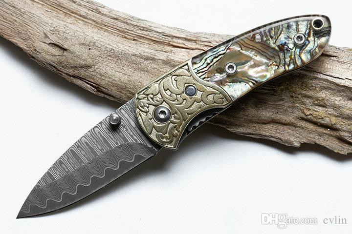 Top quality Small Folding Knife Damascus Steel Blade Shell + Copper Handle EDC Pocket Knives Liner Lock With Nylon Bag