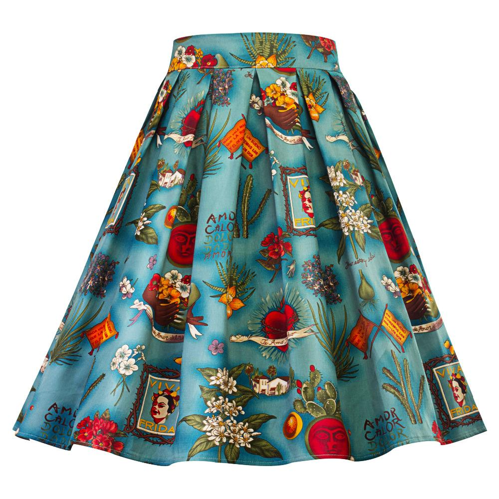 94c8c94e148559 2019 Plus Size 50s 60s Pleated Skirt 2018 New Arrival Floral Printed Retro  Skirts Robe Femme Harajuku Rockabilly Women Vintage Skirts From  Pulchritude, ...